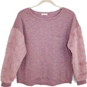 Old Rose Fur Sleeve Cozy Sweater Top